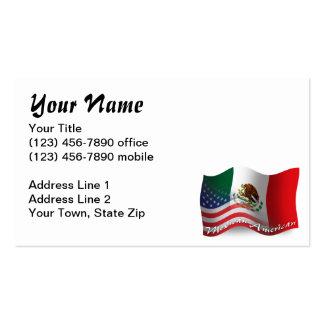 Bandera que agita mexicana-americano tarjetas de visita