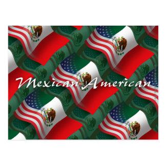 Bandera que agita mexicana-americano tarjetas postales