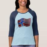 Bandera que agita Noruego-Americana Camiseta