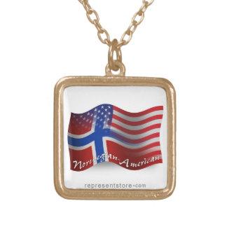 Bandera que agita Noruego-Americana Colgante Cuadrado