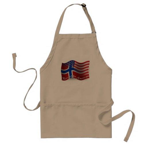 Bandera que agita Noruego-Americana Delantal