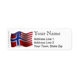 Bandera que agita Noruego-Americana Etiqueta De Remite