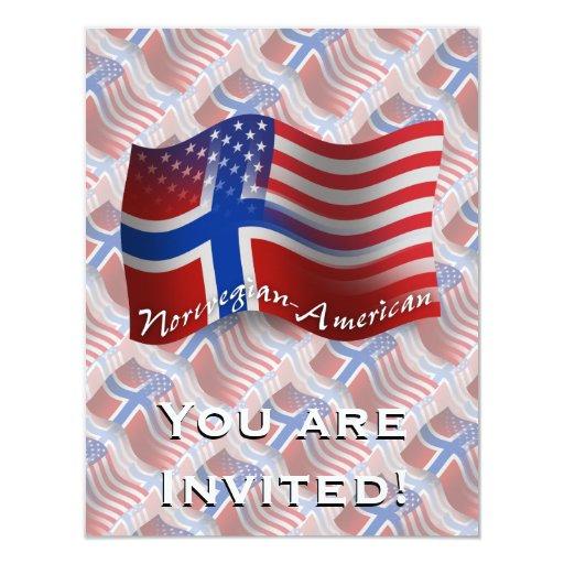 Bandera que agita Noruego-Americana Invitación 10,8 X 13,9 Cm