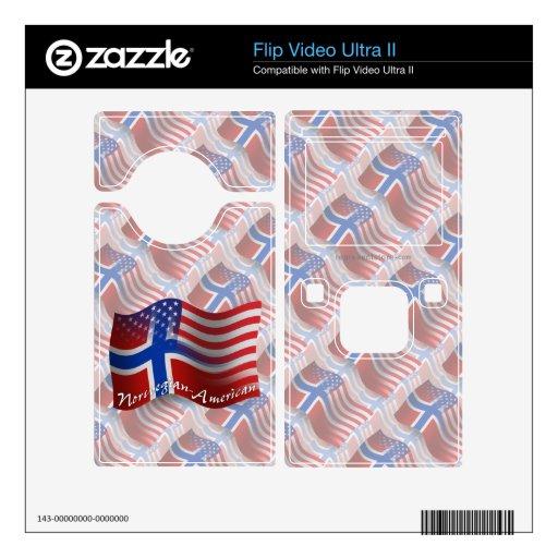 Bandera que agita Noruego-Americana Flip Video Ultra II Calcomanía