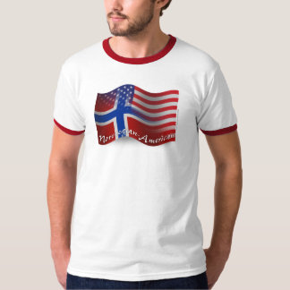 Bandera que agita Noruego-Americana Playera
