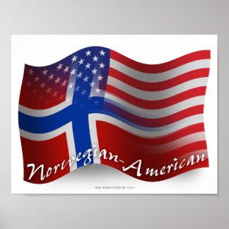 Bandera que agita Noruego-Americana Póster