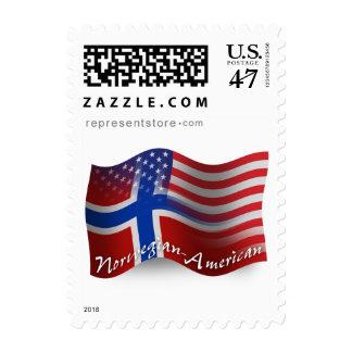 Bandera que agita Noruego-Americana Timbres Postales