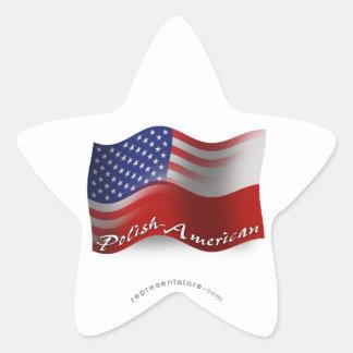 Bandera que agita Pulimento-Americana Pegatina En Forma De Estrella