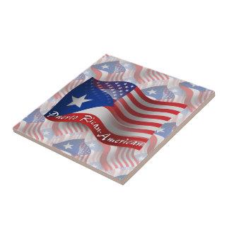 Bandera que agita Rican-Americana de Puerto Azulejos Cerámicos