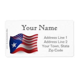 Bandera que agita Rican-Americana de Puerto Etiqueta De Envío