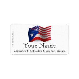 Bandera que agita Rican-Americana de Puerto Etiqueta De Dirección