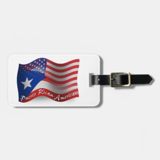 Bandera que agita Rican-Americana de Puerto Etiquetas Para Maletas
