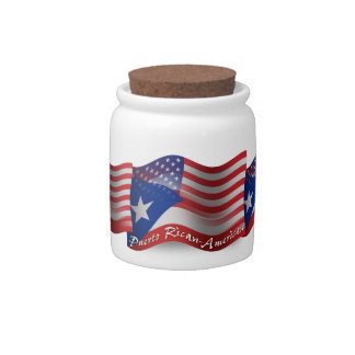 Bandera que agita Rican-Americana de Puerto Jarra Para Caramelo