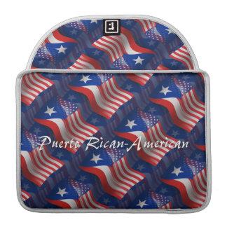Bandera que agita Rican-Americana de Puerto Fundas Para Macbooks