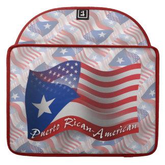 Bandera que agita Rican-Americana de Puerto Fundas Para Macbook Pro