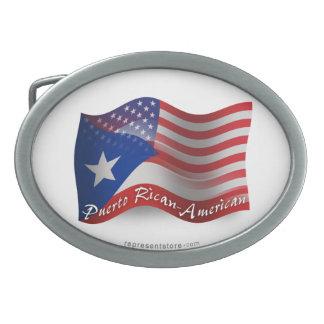 Bandera que agita Rican-Americana de Puerto Hebillas De Cinturón Ovales