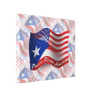 Bandera que agita Rican-Americana de Puerto Lona Estirada Galerías