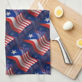 Bandera que agita Rican-Americana de Puerto Toallas