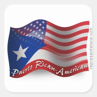 Bandera que agita Rican-Americana de Puerto Calcomania Cuadradas
