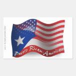 Bandera que agita Rican-Americana de Puerto Pegatina Rectangular