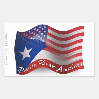 Bandera que agita Rican-Americana de Puerto Rectangular Pegatina