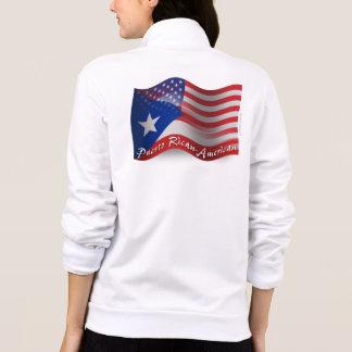 Bandera que agita Rican-Americana de Puerto Chaqueta Imprimida