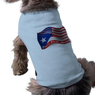 Bandera que agita Rican-Americana de Puerto Playera Sin Mangas Para Perro