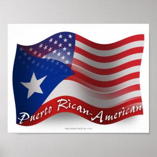 Bandera que agita Rican-Americana de Puerto Póster