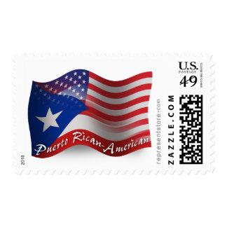 Bandera que agita Rican-Americana de Puerto Sellos