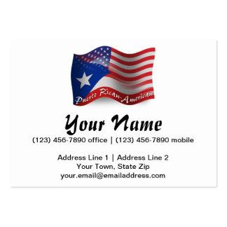 Bandera que agita Rican-Americana de Puerto Tarjetas De Visita Grandes