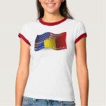 Bandera que agita Rumano-Americana Camisas