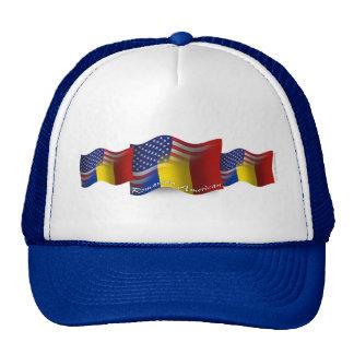 Bandera que agita Rumano-Americana Gorro De Camionero