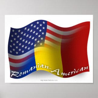 Bandera que agita Rumano-Americana Posters