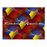 Bandera que agita Rumano-Americana Postal