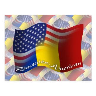 Bandera que agita Rumano-Americana Postales