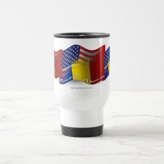 Bandera que agita Rumano-Americana Taza De Viaje De Acero Inoxidable