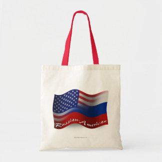 Bandera que agita Ruso-Americana Bolsas De Mano
