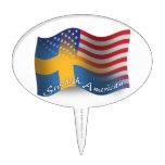 Bandera que agita Sueco-Americana Decoraciones De Tartas