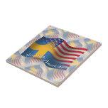 Bandera que agita Sueco-Americana Azulejos Ceramicos