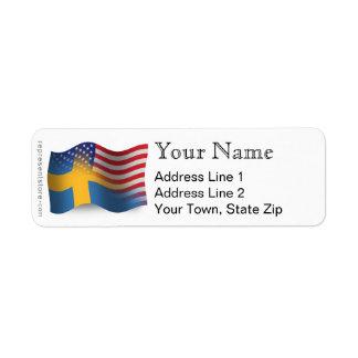 Bandera que agita Sueco-Americana Etiqueta De Remite