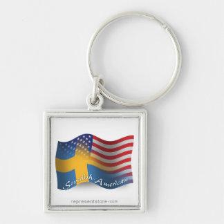 Bandera que agita Sueco-Americana Llavero Cuadrado Plateado