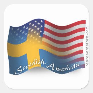 Bandera que agita Sueco-Americana Pegatina Cuadrada