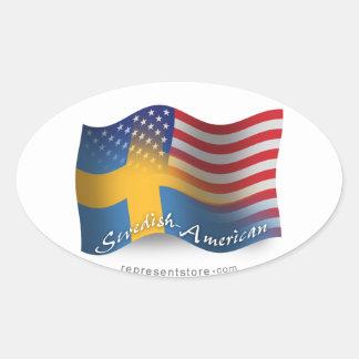 Bandera que agita Sueco-Americana Pegatina Ovalada