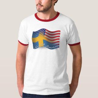 Bandera que agita Sueco-Americana Playera