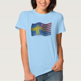 Bandera que agita Sueco-Americana Polera