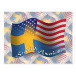Bandera que agita Sueco-Americana Postal