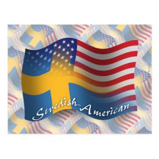 Bandera que agita Sueco-Americana Postales
