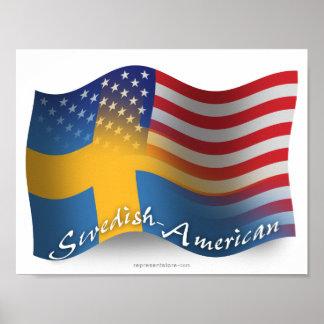 Bandera que agita Sueco-Americana Póster