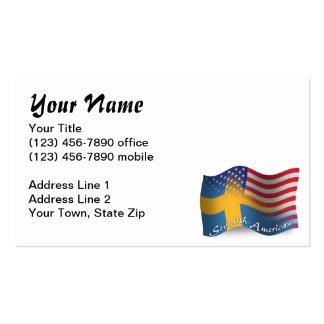 Bandera que agita Sueco-Americana Tarjetas Personales