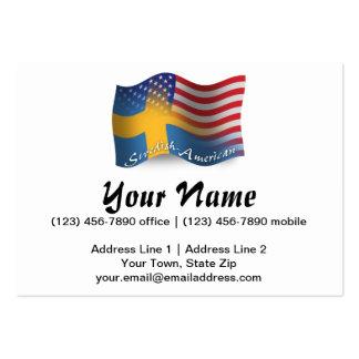 Bandera que agita Sueco-Americana Plantilla De Tarjeta Personal